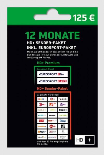 HD+ Verlängerung inkl. Eurosport-Paket für 12 Monate für alle HD+ Karten HD01/02/03/04 geeignet