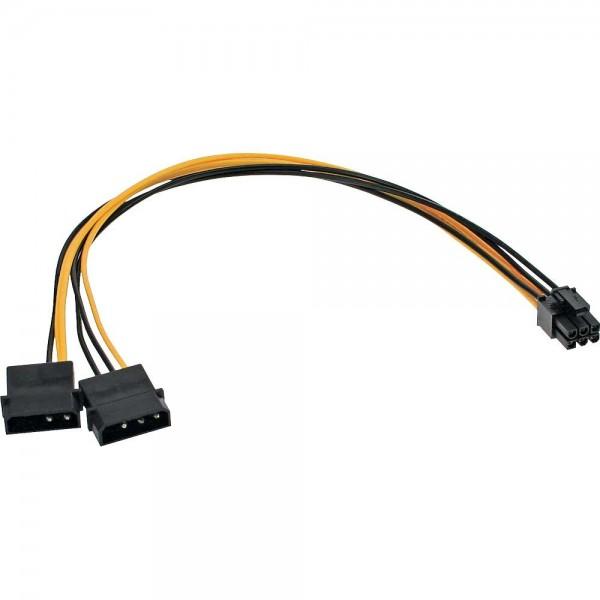 Stromadapter intern - 2 x 4-Pin Molex IDE Stromadapterkabel zu 6-Pin für PCIe Grafikkarten