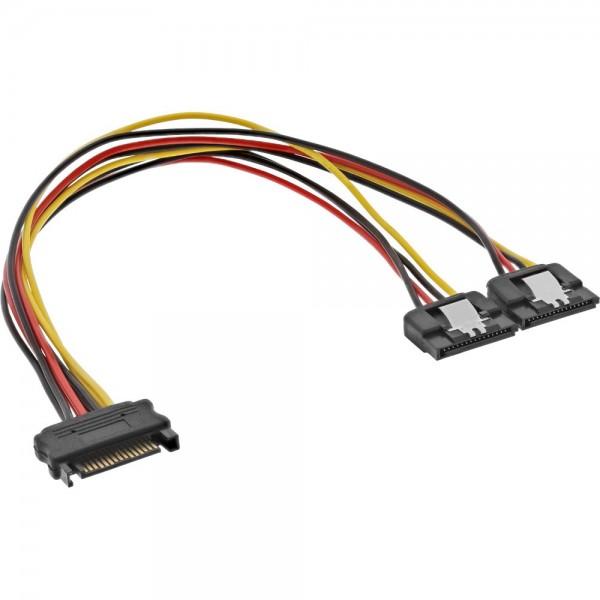 SATA Y-Stromadapterkabel - SATA Strom-Buchse auf 2 x SATA Strom-Stecker