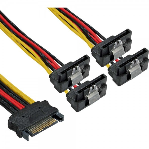 SATA Y-Stromadapterkabel - SATA Strom-Buchse auf 4 x SATA Strom-Stecker gewinkelt, mit SL