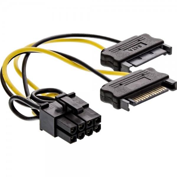 Stromadapter intern - 2 x SATA auf 8-Pin für PCIe Grafikkarten, 0,15 m