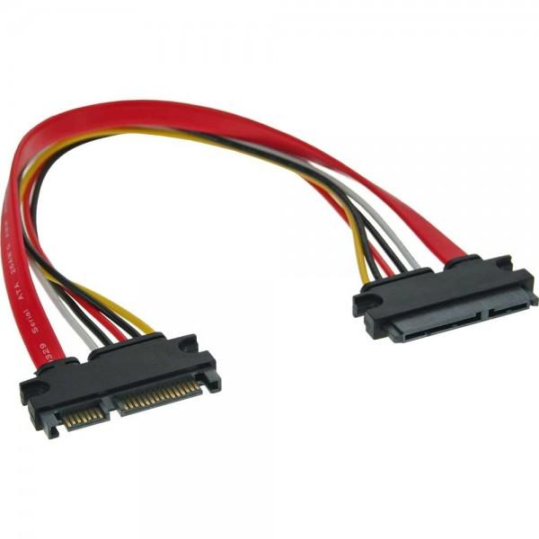 SATA Strom Verlängerungskabel intern - SATA 6 Gb/s + Strom-Stecker auf SATA 6 Gb/s + Strom-Buchse